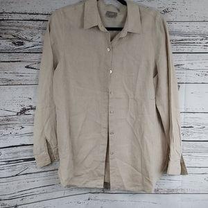 J.jill small linen tan button up shirt